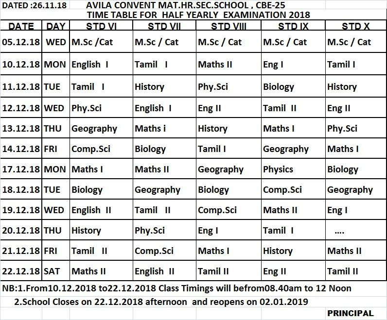 HALF YEARLY EXAMINATION     :  2018   -      TIME TABLE
